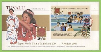 Tuvalu 2001 Japan World Stamp Exhibition M/S on First Day Cover
