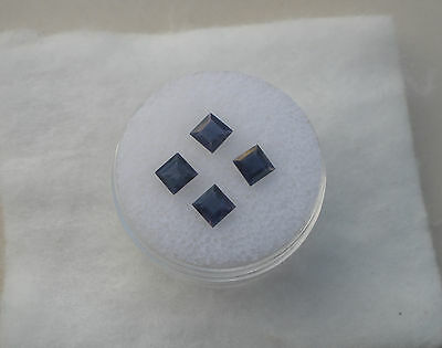 4 Iolite Square Loose Faceted Natural Gems 4mm each