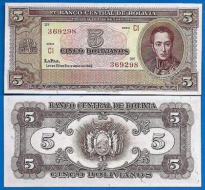 Bolivia P-138d 5 Bolivianos Year 1945 Uncirculated FREE SHIPPING