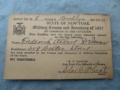 WWI New York State Military Census Card 1917 Named Brooklyn NY WW1