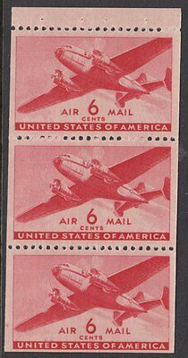 UNITED STATES BOOKLET PANE:1943 6c  carmine Airmail SCOTT #C25a  MNH
