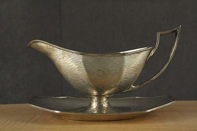 Vintage Hand Hammered Silver Plate Gravy Boat & Underplate HMC Sheffield England