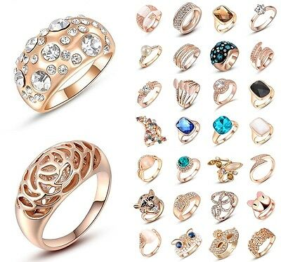 Women Fashion Jewelry Charm Crystal 18K Rose Gold Ring Wedding Party Gifts