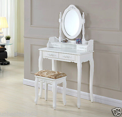Shabby Chic Dressing Table with Stool Oval Mirror Bedroom Vanity Makeup Desk New