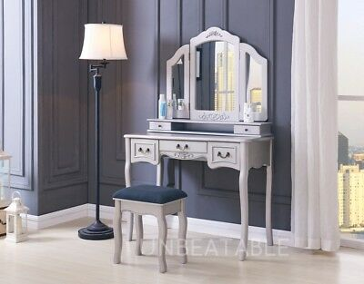 Dressing Table Set White Ivory Black with Stool and Large 3 Panel Mirror Bedroom