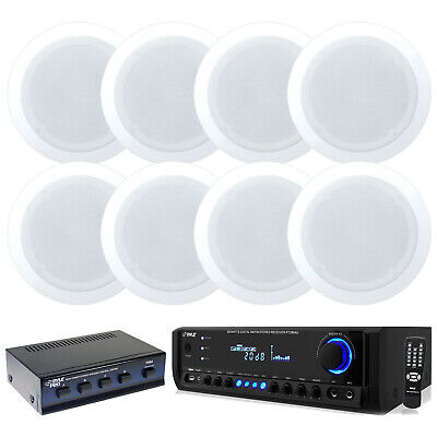 "Pyle Home USB SD 300W Receiver, 5.25"" Black 2-Way In-Ceiling Speakers & Selector"