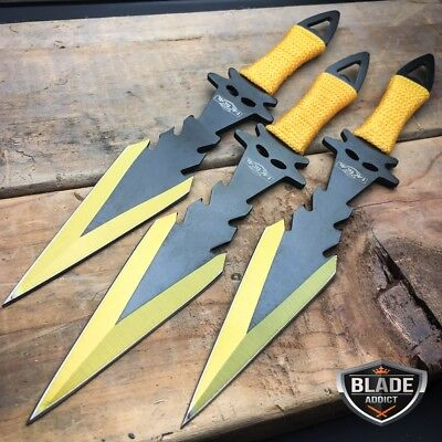 3 PC Ninja Tactical Combat Naruto Kunai Throwing Knife Fixed Blade Gold Set NEW