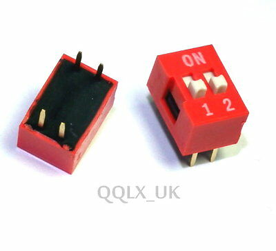 10pcs DIP Red 2.54mm Pitch 2 Positions Ways Slide Type Switch new - UK seller