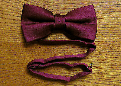 Bow Tie Satin Pre Tied Burgundy / Wine Steampunk Tuxedo Wedding Prom Groom