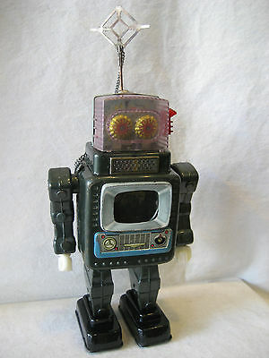 vintage Alps Japan TELEVISION SPACE MAN battery operated tin toy robot tv RARE !