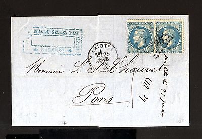 7280-FRANCE-COVER LETTER  SAINTES to PONS.1870.NAPOLEON.20 Cts. Carta FRANCIA.