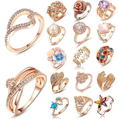 Fashion Charm Jewelry Women Lady 18k Rose Gold Plated Crystal Ring Wedding