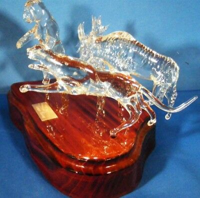 Rare Hand Crafted Rocky Mountain Crystal Art Animals Panther Bear Mountain Goat