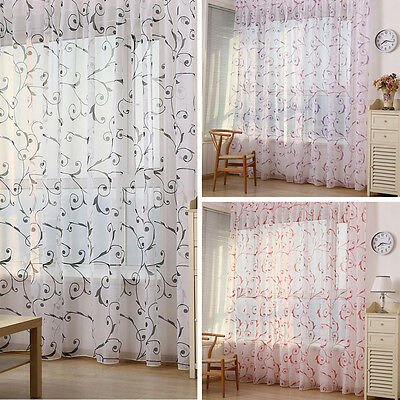 Chic Floral Tulle Voile Door Window Curtain Drape Panel Room Sheer Scarf Valance