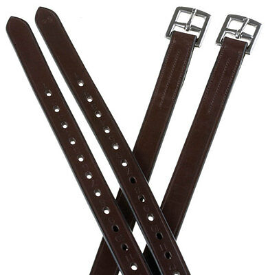 "Adult 60"" Extra Length English Saddle Stirrup Leathers Dark Brown For Stirrups"