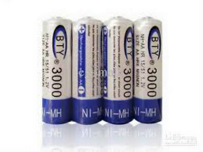 4 x BTY AA Rechargeable Battery 3000 mAh 1.2V Ni-Mh BTY NiMH AA