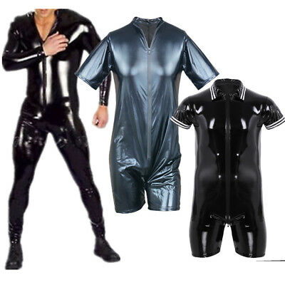 Mens Latex Rubber Bodysuit Leather Catsuit Zipper Lycra Underwear Costume