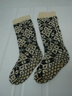 ANTIQUE HAND KNIT NAVY BLUE & WHITE SOCKS with DIAMOND SNOWFLAKE PATTERN