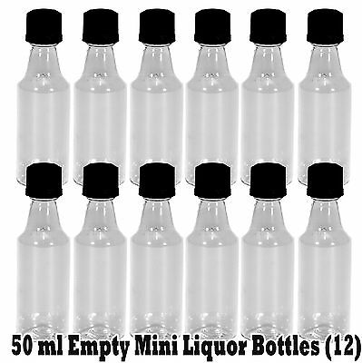 Mini ROUND Plastic Alcohol 50ml Liquor Bottle Shots + Caps (12), add own Labels