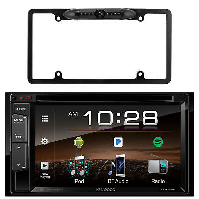 Kenwood Bluetooth USB AUX Double Din Receiver,License Plate Black Back Up Camera