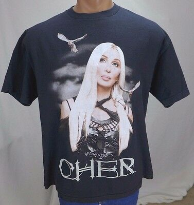 """Vintage 2002 CHER LIVING PROOF """"Farewell"""" Tour Black T-shirt Double Sided XL"""