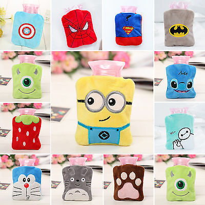 Cute Minions Mini Hot Water Bottle With Plush REMOVABLE Fleece Warmer Cover Toys