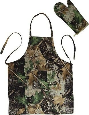 Rivers Edge Camo Cooking Apron and Oven Mitt Indoor/Outdoor Cooking Linens #1930