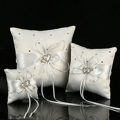 White Double Heart Bearer Pocket Ring Pillow Cushion Crystal For Wedding Party