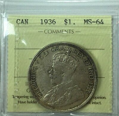 1936 Canadian Silver One Dollar Coin ICCS Graded MS-64