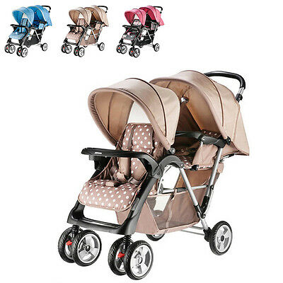 Baby Twins Safety Stroller Infant Tandem Carriage Double Pram Sunshade Pushchair