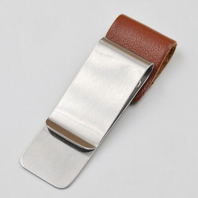 Metal Leather Pen Holder Clip Notebook Notepad Diary Fitting Stationery Brown