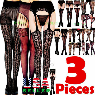 3 Pairs Fashion Women Stockings Socks Tights Pattern Sheer Pantyhose Plus Size