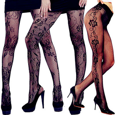 Plus Size Socks Tights Sheer Pantyhose Nylon Hold Up New Lace Women Stockings