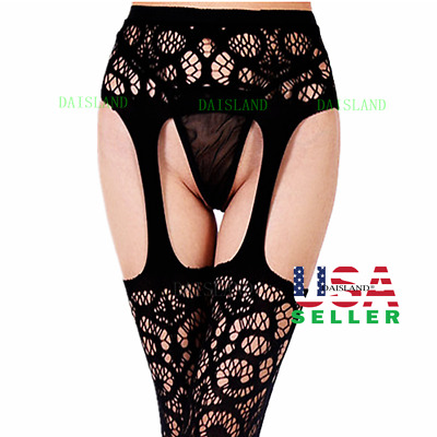 Hot Women Mesh Lingerie Garter Belt Fishnet Thigh High Lace Stocking Pantyhose