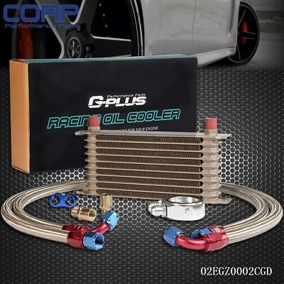 10Row AN10 Universal Engine Transmission Oil Cooler+ Filter Relocation Kit