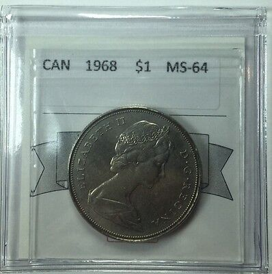1968 Canadian One Dollar Coin Mart Graded MS-64