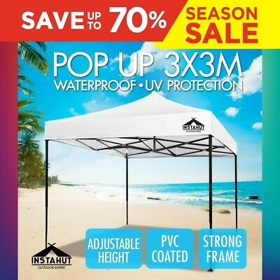 3x3M Outdoor Gazebo Pop Up Folding Marquee Party Stall Tent Canopy BBQ White
