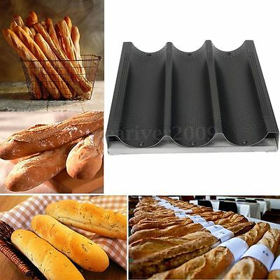 Aluminum Nonstick 3 Slot Non Loaf Stick French Bread Baguette Pan Baking Tray