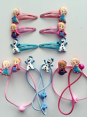 3PAIRS Kids Girl FROZEN ELSA ANNA SNOWMAN hair accessory Gift clip ponytail band