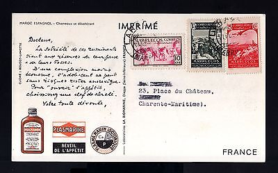 7472-SPANISH MOROCCO-SPAIN COLONIES-POSTCARD LARACHE to FRANCE.1953.MARRUECOS