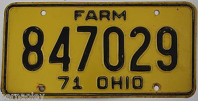 1971 Vintage Original  Ohio License Plate Tag 847029 FARM