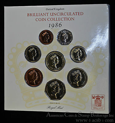 Great Britain 1986 CH BU United Kingdom Brilliant Coin Collection Mint Set.