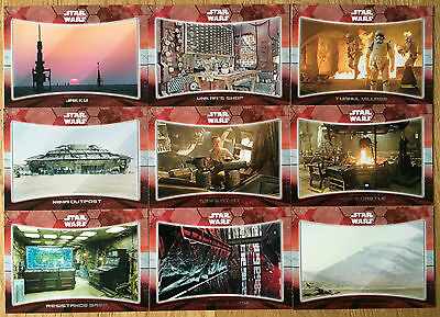 """Star Wars The Force Awakens 9 Card """"Locations"""" Chase Set"""