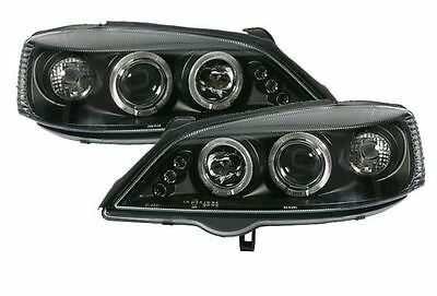 Vauxhall Astra G Mk4 98-04 Black Angel Eye Halo Projector Headlights Lamps Pair