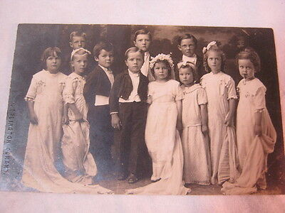 Antique real photo postcard with group of children  T*