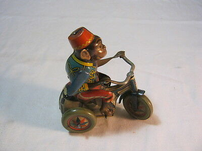 Vintage Key Wind Up Litho Toy Monkey Riding Tricycle Germany   T*