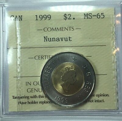 1999 Canadian Two Dollar Coin ICCS Graded MS-65 Nunavut