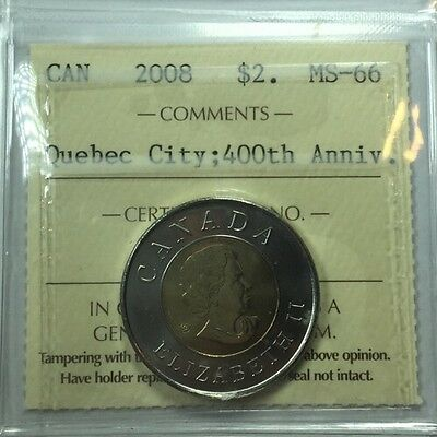 2008 Canadian Two Dollar Coin ICCS Graded MS-66 Quebec City 400th Anniversary