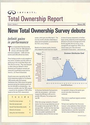 1992 Infiniti Total Ownership Report Salesman's Brochure my5656