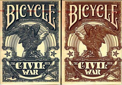 Civil War Red & Blue Deck Set Bicycle Playing Cards Poker Size USPCC J. Robinson